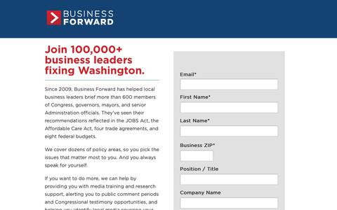 Screenshot of Signup Page businessfwd.org - Business Forward     Join 100,000+ business leaders fixing Washington. - captured Oct. 7, 2018