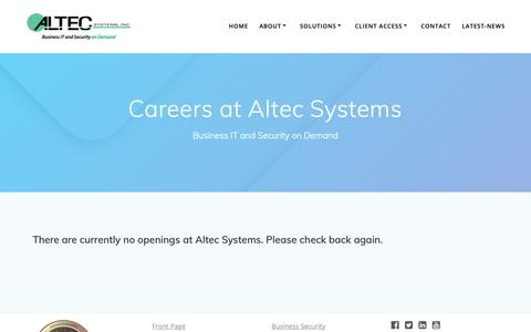Screenshot of Jobs Page altecsystems.com - Careers at Altec Systems - Altec Systems Inc. - captured June 13, 2019