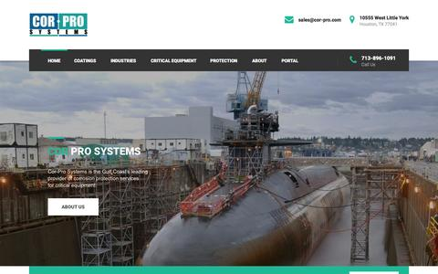 Screenshot of Home Page cor-pro.com - Cor-Systems - Advanced Corrosion Protection Techniques and Services - captured Jan. 31, 2016