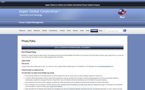 Screenshot of Privacy Page jasperglobal.com - Privacy Policy - Jasper Global Corporation :: Jasper Global Corporation - captured Oct. 4, 2014