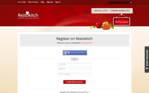Screenshot of Signup Page restokitch.com - Home | Restokitch - captured Oct. 8, 2014