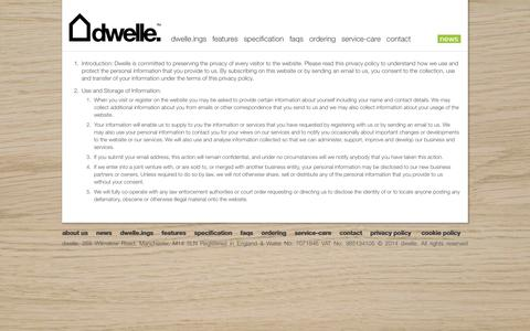 Screenshot of Privacy Page dwelle.co.uk - privacy policy : dwelle. : high quality, zero-carbon, prefabricated eco-buildings - captured Sept. 23, 2014