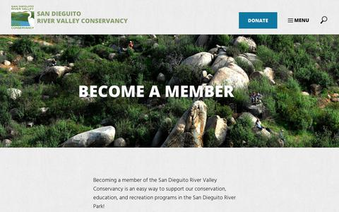 Screenshot of Signup Page sdrvc.org - Join - San Dieguito River Valley Conservancy - captured Oct. 5, 2017