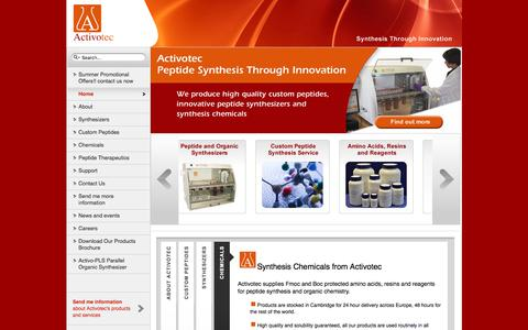 Screenshot of Home Page activotec.com - Peptide Synthesis, Peptide Synthesizers and Custom Synthesis from Activotec - captured Oct. 7, 2017