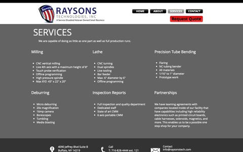 Screenshot of Services Page raysonstech.com - Raysons Technologies | Precision Machining | Buffalo, NY - captured Nov. 15, 2018