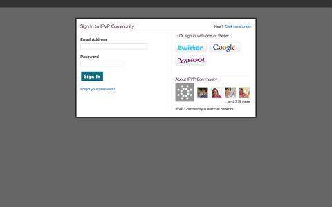 Screenshot of Login Page ning.com - IFVP Community - captured Sept. 13, 2014