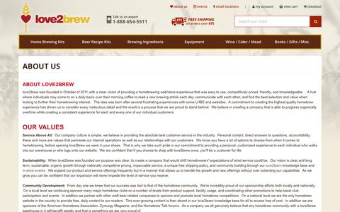 Screenshot of About Page love2brew.com - Love2Brew - Home Brewing Supply and Beer & Wine Homebrewing Information:  About Us - captured May 24, 2017