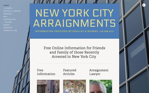 Screenshot of Home Page new-york-arraignments.com - New York New York Arraignments - Criminal Court Arraignments in New York City - captured June 20, 2016