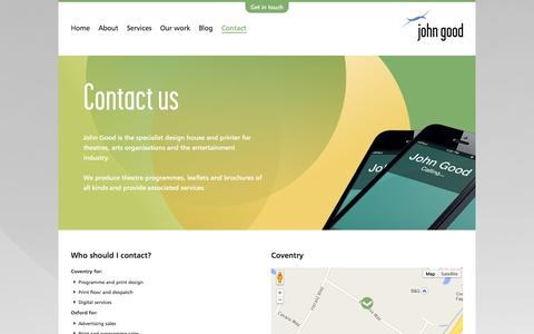 Screenshot of Contact Page johngood.com - John Good - Contact - John Good - captured Sept. 30, 2014