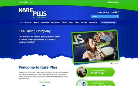 Screenshot of Home Page kareplus.co.uk - The Caring Company | Kare Plus - captured Oct. 6, 2014