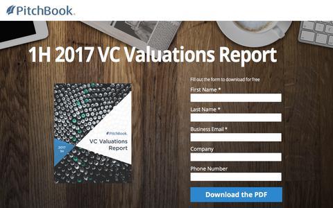 Screenshot of Landing Page pitchbook.com - PitchBook 1H 2017 VC Valuations Report - captured Sept. 7, 2017