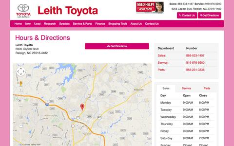 Screenshot of Maps & Directions Page Hours Page leithtoyota.com - Leith Toyota Hours Directions Address Map - Raleigh Near Apex NC - captured Oct. 22, 2014