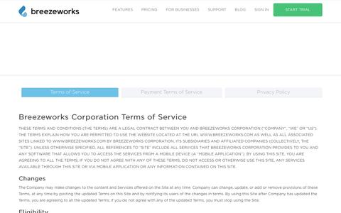 Screenshot of Terms Page breezeworks.com - Legal | Breezeworks - captured July 3, 2016