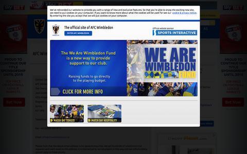 Screenshot of Contact Page afcwimbledon.co.uk - AFC Wimbledon Club Contacts - captured Dec. 22, 2015