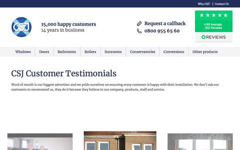 Screenshot of Testimonials Page csj.co.uk - CSJ Customer Testimonials | CSJ - Central Scotland Joinery - captured July 16, 2018