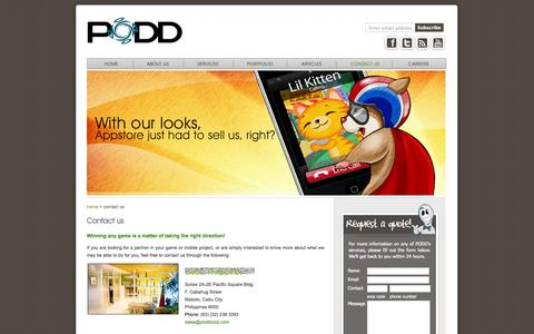 Screenshot of Contact Page poddcorp.com - Games and mobile applications | PODD | PODD - captured Oct. 1, 2014