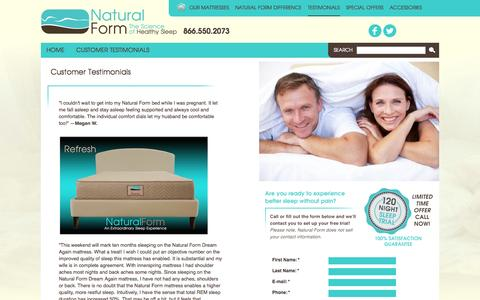 Screenshot of Testimonials Page naturalform.com - Customer Testimonials | Natural Form® - captured Oct. 9, 2014
