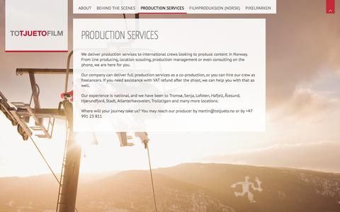 Screenshot of Locations Page totjueto.no - Production services – Totjueto Film - captured Feb. 24, 2016