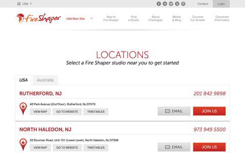 Screenshot of Contact Page Login Page Locations Page fireshaper.com - Fire Shaper USA Yoga Class Locations FireShaper USA - captured Jan. 10, 2019