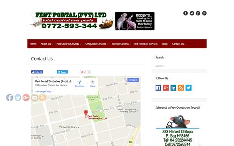 Screenshot of Contact Page pestportal.co.zw - Contact Us-The Pest Control Company | Harare | Zimbabwe | Guaranteed Pest Control Services Harare | We control rats, ant, cockroaches, spiders, termites, mosquitoes | Guaranteed Results - captured Nov. 5, 2016