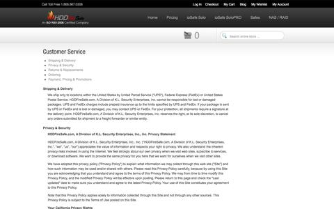 Screenshot of Privacy Page Support Page Terms Page hddfiresafe.com - Customer Service - captured May 23, 2016