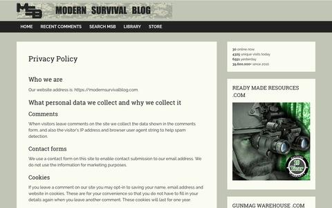 Screenshot of Privacy Page modernsurvivalblog.com - Privacy Policy - captured Sept. 23, 2018