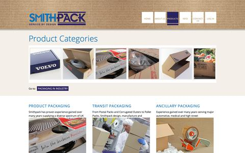 Screenshot of Products Page smithpack.co.uk - Smithpack - captured Oct. 18, 2018