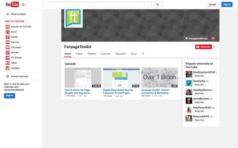 Screenshot of YouTube Page youtube.com - FanpageToolkit  - YouTube - captured Nov. 3, 2014