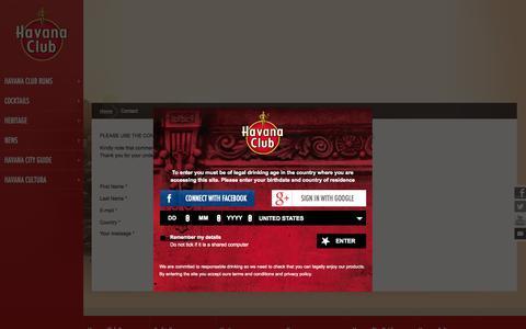 Screenshot of Contact Page havana-club.com - Contact Havana Club | Havana Club Rhums - captured Sept. 19, 2014
