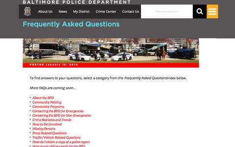 Screenshot of FAQ Page baltimorepolice.org - Baltimore Police Department, City of Baltimore, MD   Frequently Asked Questions - captured Jan. 14, 2016