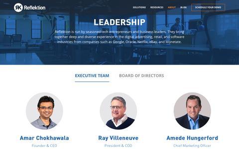 Screenshot of About Page Team Page reflektion.com - Leadership | Reflektion - captured Jan. 27, 2019