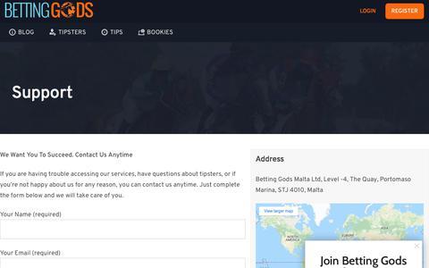 Screenshot of Support Page bettinggods.com - Support | BettingGods.com - captured Dec. 8, 2019