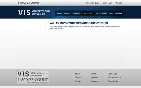 Screenshot of Case Studies Page valleycount.com - Valley Inventory Service Case Studies - captured Nov. 5, 2014