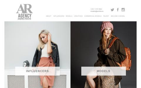 Screenshot of Home Page armodelagency.com - Andrea Roche Model Agency - captured Oct. 8, 2017