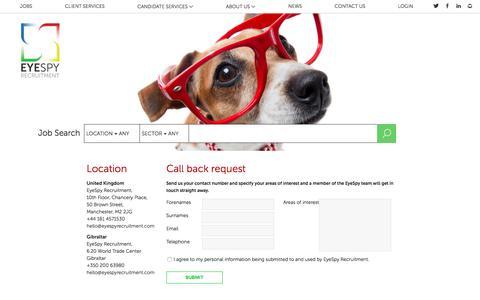 Screenshot of Contact Page eyespyrecruitment.com - Contact Us - EyeSpy Recruitment Agency - captured July 23, 2018