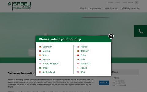 Screenshot of Home Page sabeu.com - Tailor-made solutions, mature standards - captured July 20, 2016