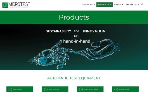 Screenshot of Products Page microtest.net - Microtest Srl | Products - Sustainability and Innovations | Lucca, Italy - captured Oct. 18, 2018