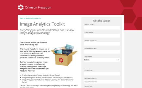 Screenshot of Landing Page crimsonhexagon.com - The Future of Image Analysis | Image Recognition in Social Media - captured March 3, 2018