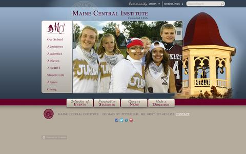 Screenshot of Home Page mci-school.org - Maine Central Institute - captured Oct. 4, 2014