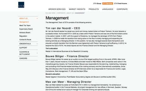 Screenshot of Team Page stxgroup.com - Management | STX Services - captured Oct. 3, 2014