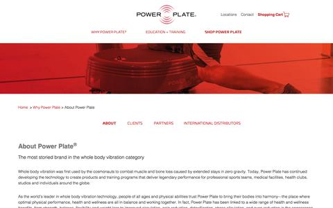 Screenshot of About Page powerplate.com - Power Plate - About Power Plate - captured June 29, 2018