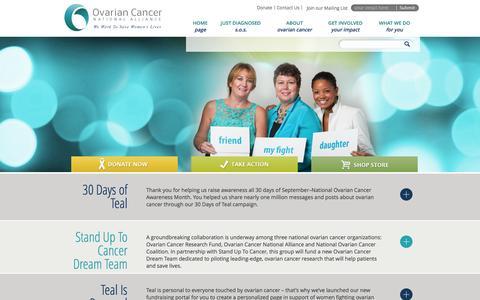 Screenshot of Home Page ovariancancer.org - We work to save women's lives. - captured Oct. 6, 2014