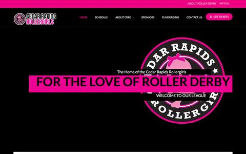 Screenshot of Home Page crrollergirls.com - Cedar Rapids Rollergirls - Home - captured Oct. 28, 2016