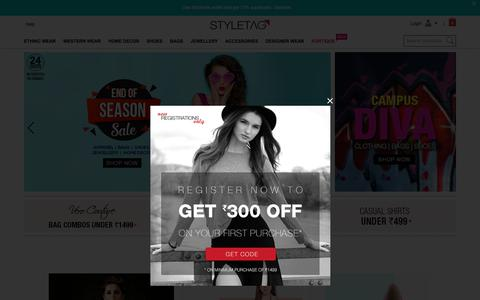 Screenshot of Home Page styletag.com - Online Shopping Discounts On Designer Dresses for Women | Buy Handbags, Footwear, Jewellery, Accessories & More – Styletag.com - captured June 20, 2017