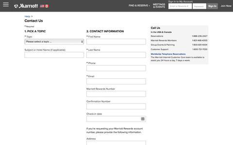 Screenshot of Contact Page marriott.com - Contact Us - captured June 26, 2018