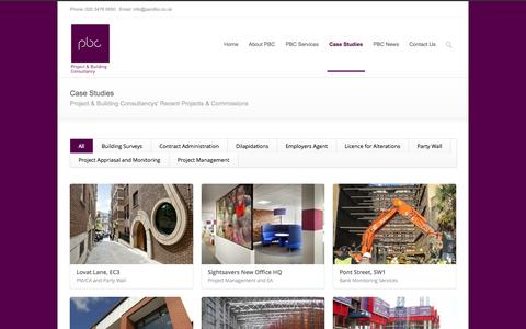 Screenshot of Case Studies Page pandbc.co.uk - Project & Building Consultancy, London Project & Building Consultancy - Our Experience - captured Oct. 3, 2014