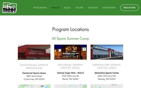 Screenshot of Locations Page akasport.org - Program Locations — AKASPORT - captured Nov. 12, 2018