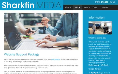 Screenshot of Support Page sharkfinmedia.com - Fully Supported Bespoke Website Design | Cornwall | Truro | St Austell - captured Nov. 19, 2018