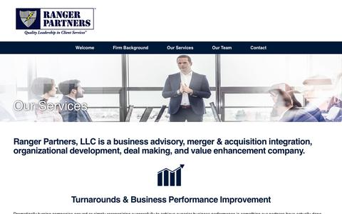 Screenshot of Services Page rangerpartners.com - Ranger Partners LLC is a business advisory, merger and acquisition integration, organizational development, deal making, and value enhancement company serving principally the aerospace, aviation, airline, MRO, and airfield services industries - captured Oct. 19, 2017