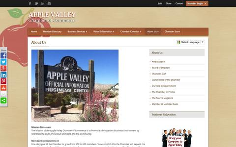 Screenshot of About Page avchamber.org - About Us - Apple Valley Chamber of Commerce - captured Feb. 6, 2016